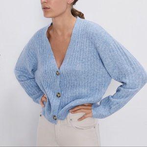 ZARA Knit Cardigan   Blue